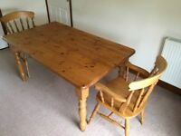 Solid Pine Dining Table 5' x 3' and Two Solid Pine Carver Chairs