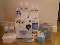 Avent Philips Bottle Feeding Essentials Steriliser, Feeding Bottles NEW
