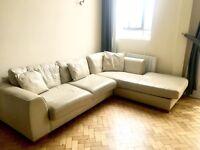 Cream Leather Sofa For Sale