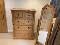 Wooden solid bedroom set - cupboard- drawers and mirror