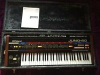Roland Juno 60 Synthesizer With hard Case and Original 1982 Manual