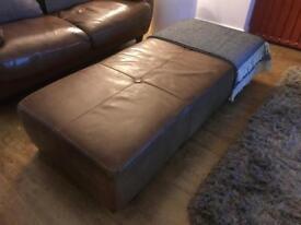 Italian leather sofa, chair and footstool