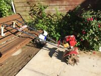 Mantis Tiller two stroke petrol with accessories