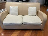 DFS sofa bed leather fabric