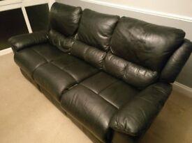 Sofa Three - seat, black leather, good condition