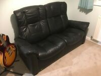 Black leather stressless 2 seater recliner