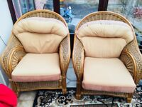 Beige wooden chair pair for indoor or outdoor furniture (used)