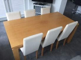 Beech Dining Table & 6 Chairs (& Sideboard)