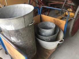 Galvanised French antique buckets planters garden