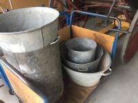 Galvanised French antique buckets planters garden