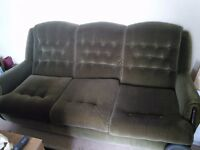 Three piece suite. Green draylon,old but in good condition