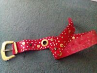 Red leather fashion belt