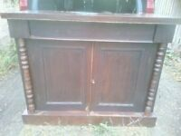 Dark Wood Sideboard, Two Door with Drawer above