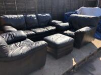 3 Seater 2 chairs and Poufe Brown leather sofa suite