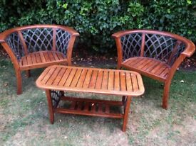 2 x Beautiful Solid Hardwood and Cast Iron Oversize Chairs and Coffee Table for Consrvatory or Patio