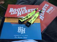 BOOTS & HEARTS 2015 4 day tickets/wristbands UNREGISTERED!!!