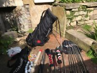 Golf Clubs (full set) with Maxfli/Titleist bag, balls, tees, umbrella