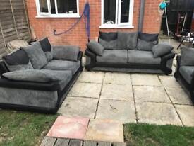 Luxury 3+2+1 sofas black and grey