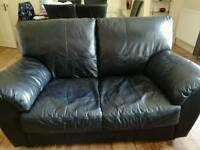 2 seat black leather sofa