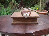 Quirky wood book/box with kitten.