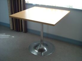 3 Pedestal Tables, 31 inch Square Beech Finish Top, Chrome Base