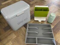 Bread bin, sink caddy, cutlery tray and soap dispenser