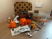 Kitchenalia Retro Orange Vintage Job Lot Kitchen Utensils.