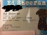1 x Standing Ed Sheeran ticket for Birmingham 29th