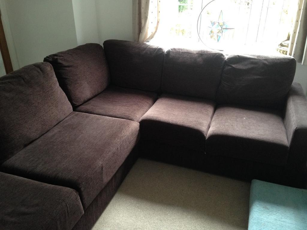 Very Comfortable Nabru Lear Chaise 3x3 Flat Pack Sofa With Durable Chocolate Brown Chenille Fabric