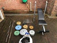 Weights Bench, bars and weights. £100 or ONO