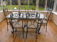 6 Seater Glass & Gun Metal Grey DINING TABLE & CHAIRS - Collect in DARLINGTON DL38TJ