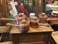 Vintage Set of Four Copper Pans