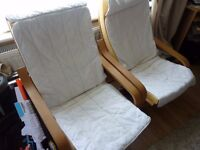 Ikea Poang Chairs with Cover. Very comfy. £75 each new. Well loved, hence price!