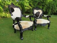 2 Large Egyptian Throne Chairs (100% Cow-Hide)