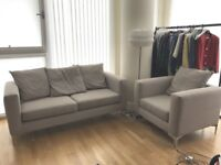 Grey Beige Fabric Sofa Set