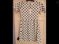 MATALAN black white spot dress NEW 10 summer river Topshop newlook asos