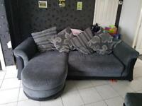 Grey fabric and leather chair and sofa