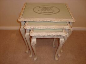 Shabby Chic Nest of glass topped Tables painted in Annie Sloan cream paint & stencilled