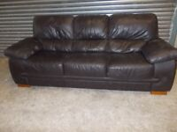 Large Dark Brown Leather 3-seater Sofa (Suite)