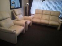 CREAM LEATHER ALL RECLINING SOFA AND 2 CHAIRS **SALE OR SWAPS**