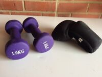 Small dumbells and wrist weights.