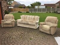3 Piece suite includes two recliner chairs.