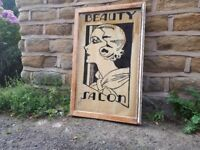 Vintage Retro Beauty Salon Shop Sign Signage Display Reverse Glass Painting Decor Picture
