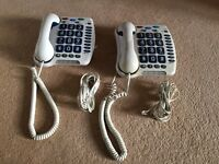 2 landline phones for people with hearing difficulties - can also be used as normal