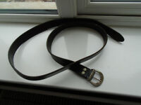 54 inch (not including buckle) BLACK GENUINE LEATHER BELT with SILVER BUCKLE