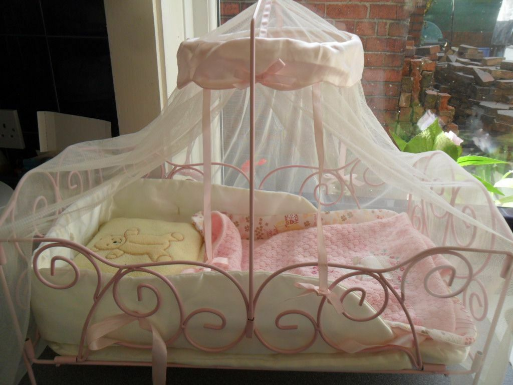 Baby Annabell Doll Metal Frame Cot Crib With Drapes