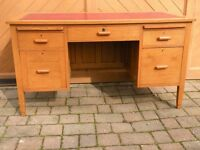 1930's solid oak desk with leather top