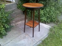 old solid honey oak round occasional table