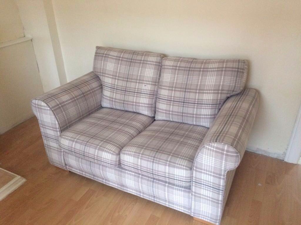 2 seater next beige check fabric sofa