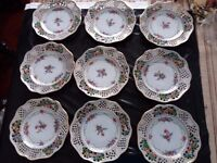 9 filigree patterned plates stamped Dresden